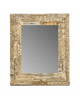 Zrcadlo v rámu s antik řezbou, starý teak, bílá patina, 38x46x3cm