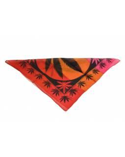 Šátek malý, tisk marihuana, černo-oranžovo-červený, bavlna, 50x50cm