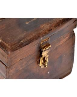 Dřevěná antik šperkovnice z teaku, železné kování, 20x14x13cm