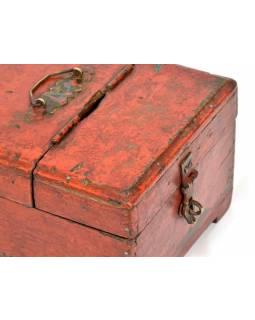 Dřevěná antik šperkovnice z teaku, železné kování, 21x16x12cm