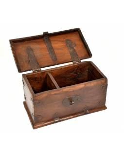 Truhla z teakového dřeva, šperkovnice, 29x15x15cm