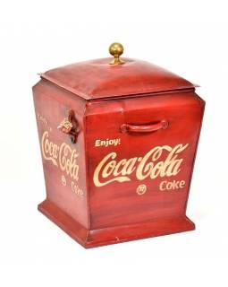 """Plechová lednička """"Coca Cola"""", antik, 30x30x44cm"""