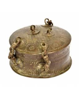 Stará mosazná nádoba s víkem, ručně tepaná, 18x18x10cm