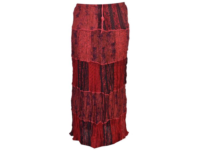 Dlouhá vínová patchworková sukně, kombinace potisků, pružný pas