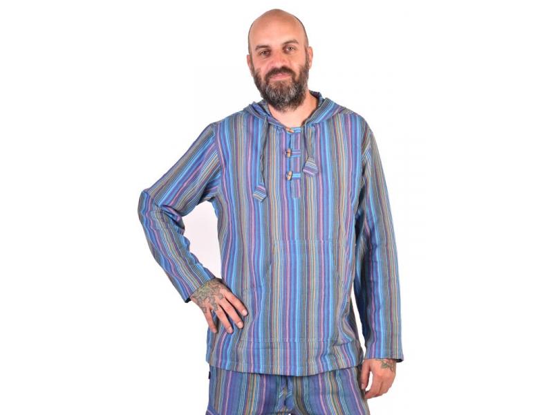 Pruhovaná modrá pánská košile-kurta s dlouhým rukávem a kapucou