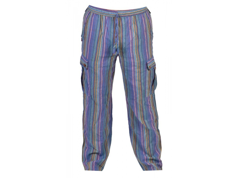 Modré pruhované unisex kalhoty s kapsami, elastický pas