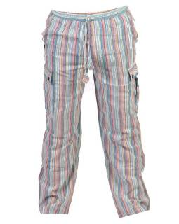 Světle modré pruhované unisex kalhoty s kapsami, elastický pas