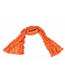 Šátek, oranžový, mačkaná úprava, zlatý tisk, 110x170cm