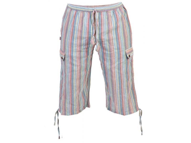 Světle modré pruhované tříčtvrteční unisex kalhoty s kapsami, elastický pas