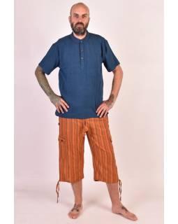 Oranžové pruhované tříčtvrteční unisex kalhoty s kapsami, elastický pas