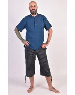 Černé pruhované tříčtvrteční unisex kalhoty s kapsami, elastický pas