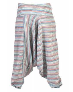 Turecké kalhoty, dlouhé, světle modré, proužky, žabičkování v pase