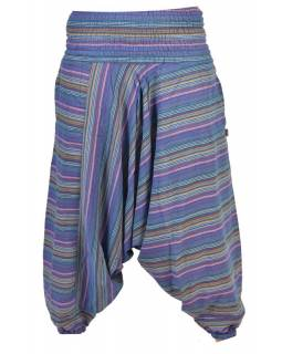 Turecké kalhoty, dlouhé, modré, proužky, žabičkování v pase