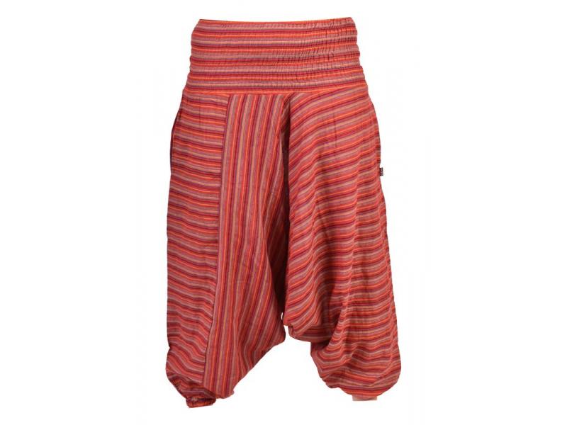Turecké kalhoty, dlouhé, červené, proužky, žabičkování v pase