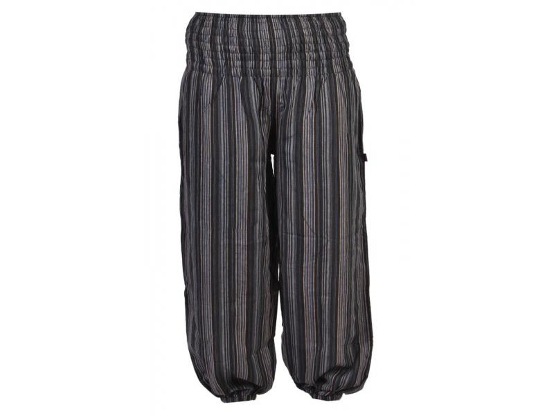 Černo-šedé pruhované balonové kalhoty, žabičkování v pase