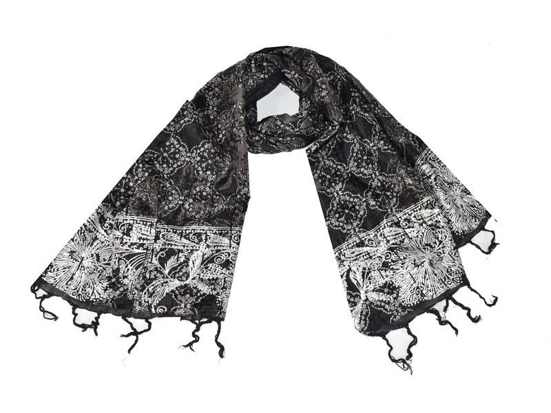 Šátek, hedvábí, černý, šedý-stříbrný tisk, prošívání, flitry, třásně, 47x14