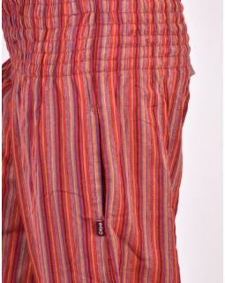 Červené pruhované balonové kalhoty, žabičkování v pase