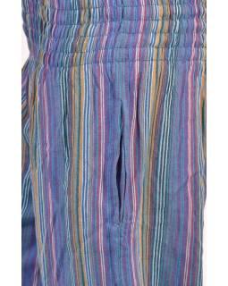 Modré pruhované balonové kalhoty, žabičkování v pase