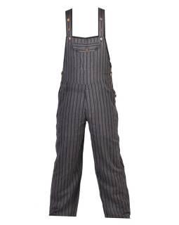 Kalhoty s laclem, černé, šedivý proužek, pět kapes