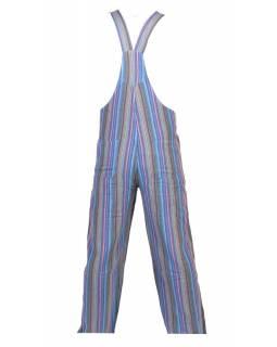 Kalhoty s laclem, modré, barevné proužky, pět kapes