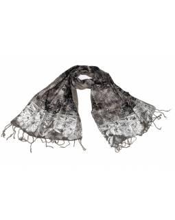 Šátek hedvábí, šedý, stříbrný tisk, prošívání, flitry, třásně, 45x140cm
