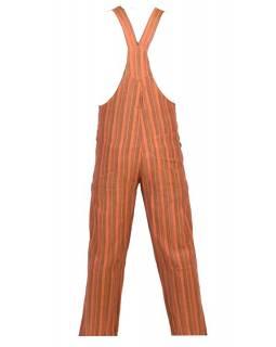 Kalhoty s laclem, oranžové, žlutý proužek, pět kapes