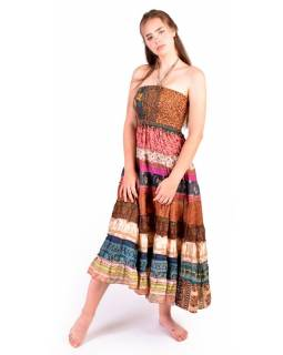 Dlouhé patchworkové šaty/sukně, recyklované sárí, bobbin