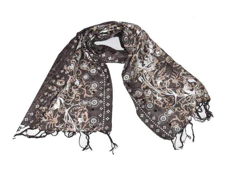 Šátek, hedvábí, hnědý, šedý-stříbrný tisk, prošívání, flitry, třásně, 47x14