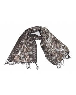 Šátek hedvábí, hnědý, šedý-stříbrný tisk, prošívání, flitry, třásně, 47x140cm