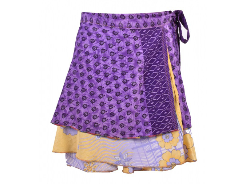 Krátká oboustranná zavinovací sukně z recyklovaných sárí