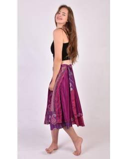 Tříčtvrteční oboustranná zavinovací sukně z recyklovaných sárí