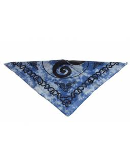 Šátek malý, batika, tisk Keltik, modro-černý, bavlna, 50x50cm