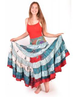 Multibarevná dlouhá patchworková sukně (šaty) z recyklovaných sárí, bobbin