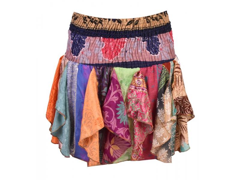 Multibarevná mini sukně ze sárí s volány (top), bobbin