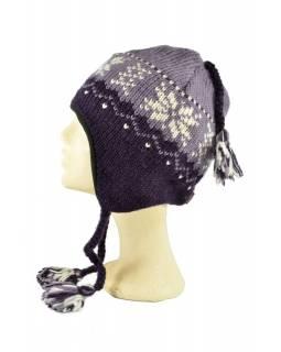 Čepice, uši, vlna, podšívka, vzor vločka, fialová