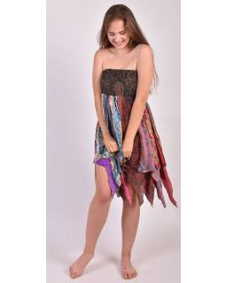 Multibarevná tříčtvrteční sukně s cípy (šaty), sárí, bobbin