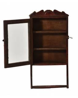 Prosklená koupelnová skříňka z teakového dřeva, 25x9x49cm