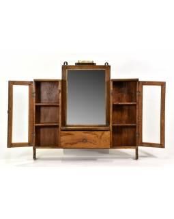 Prosklená koupelnová skříňka se zrcadlem z teakového dřeva, 65x10x62cm