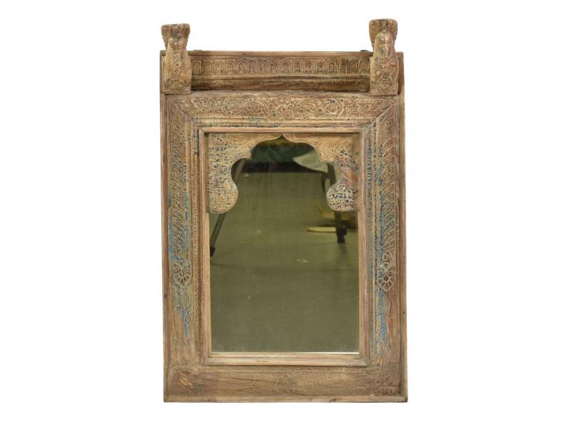 Zrcadlo v rámu z teakového dřeva ručně vyřezávaní pávi, 42x13x68cm