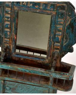 Zrcadlo v teakovém rámu s poličkou a dvířky, 33x9x47cm