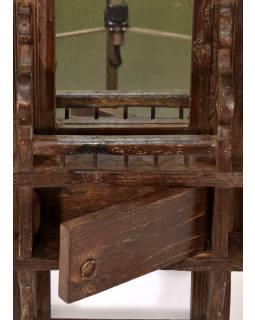 Zrcadlo v teakovém rámu s poličkou a dvířky, 41x9x52cm