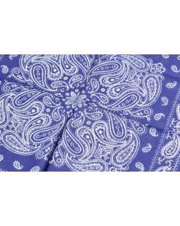 Šátek s paisley potiskem, modrý, 50x50cm
