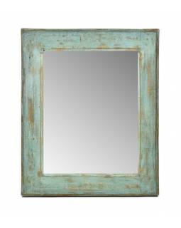 Zrcadlo v rámu, starý teak, antik patina, 58x70x4cm