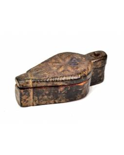 Krabička na Tiku, antik, teakové dřevo, ručně vyřezaná, 7x17x5cm
