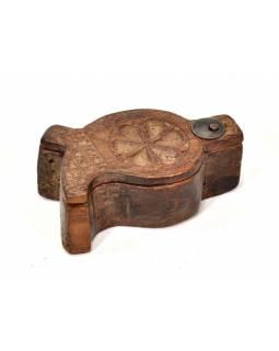 Krabička na Tiku, antik, teakové dřevo, ručně vyřezaná, 6x12x5cm