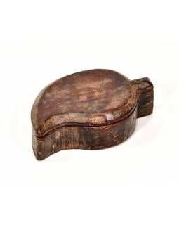 Krabička na Tiku, antik, teakové dřevo, ručně vyřezaná, 10x15x5cm