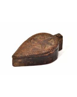 Krabička na Tiku, antik, teakové dřevo, ručně vyřezaná, 8x15x5cm