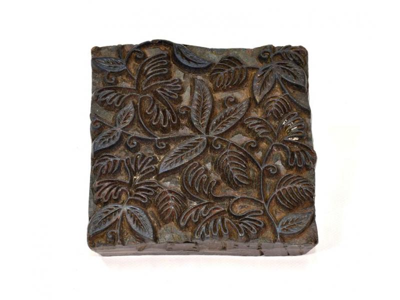 Antik dřevěná raznice na tisk přehozů s motivem floral, block print, 14x14cm