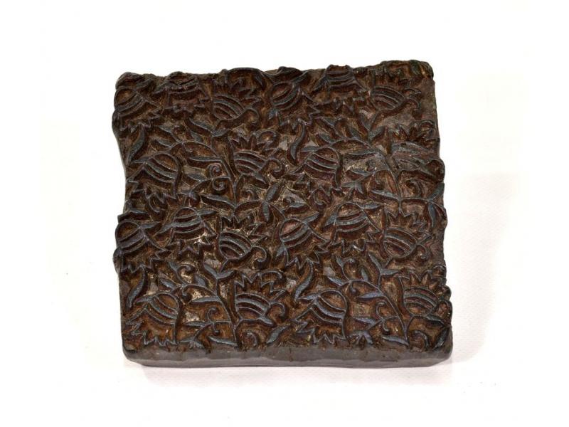 Antik dřevěná raznice na tisk přehozů s motivem floral, block print, 13x13cm