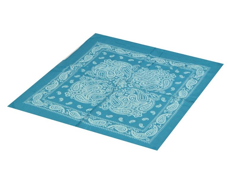 Šátek s paisley potiskem, tyrkysový, 50x50cm